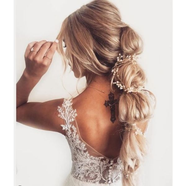 Bubble Braid with Falling Strands Hairstyle Bridal Hairstyles