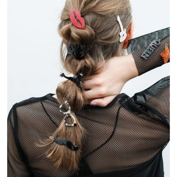 Bubble Ponytail with Hair Accesories