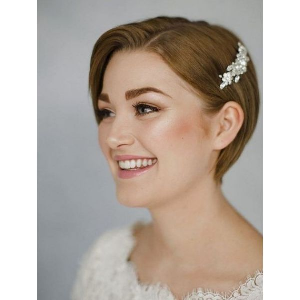Classic Pixie Cut with Flower Accessory