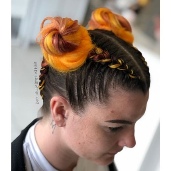 Colorful Space Buns with Braids Hairstyle