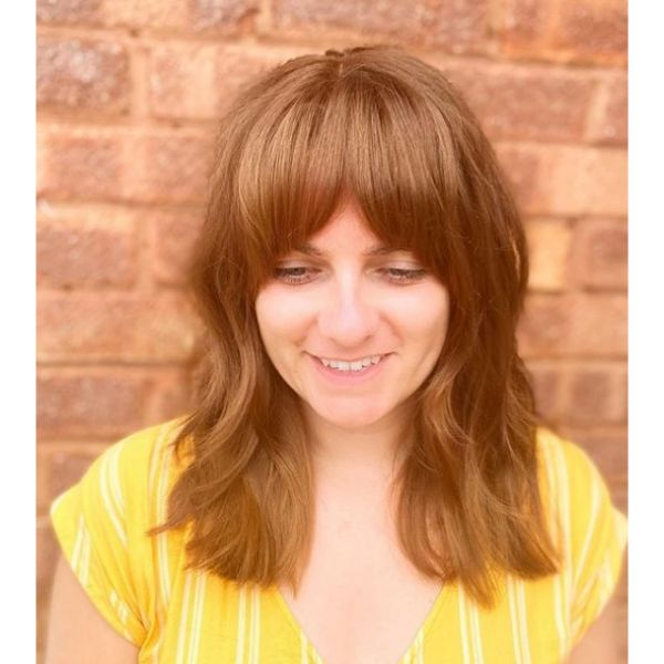 Cool Copper Brown Mid Length Hairstyle with Straight Bangs