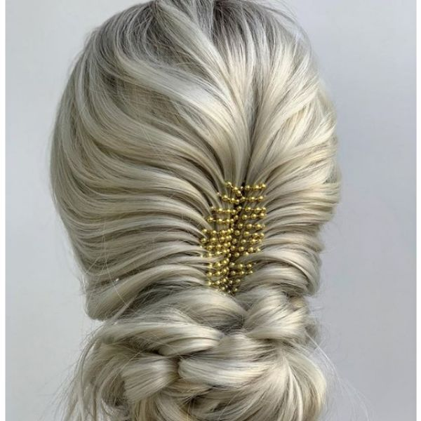Corset Braid For Boho Updo with Golde Pearl String Hairstyle