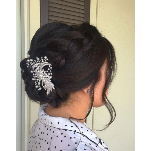 Crown Braid with Falling Strands Hairstyle Bridal Hairstyles