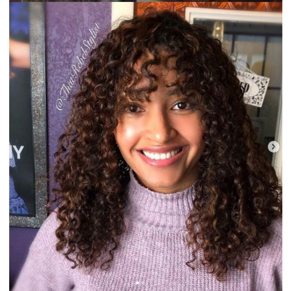 Curly Medium Hairstyle with Curly Bangs