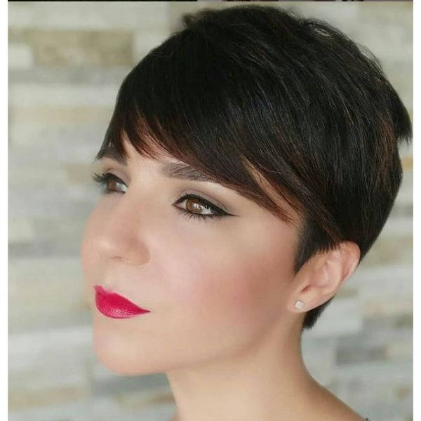 Dark Brunete Pixie Hairstyle