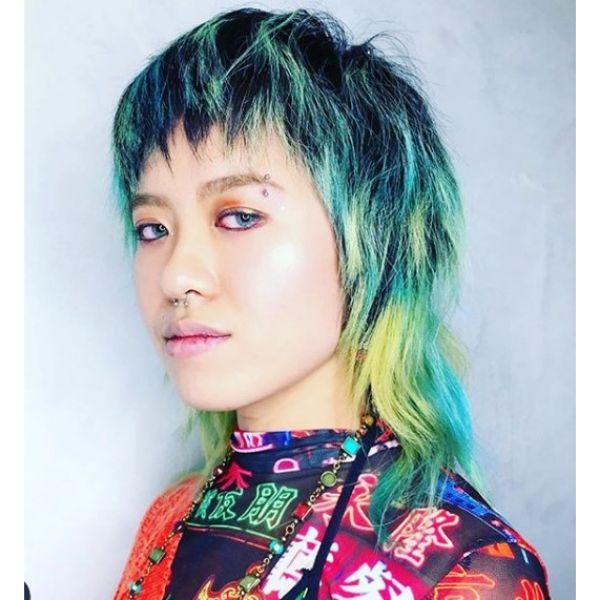Dark Strands with Green Highlights Mullet Hairstyle