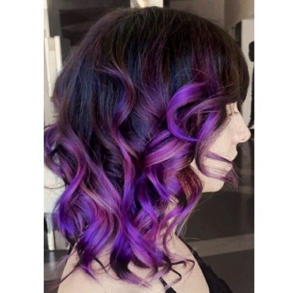 Deep Purple Mid Length Hairstyle with Curly Strands Hairstyle
