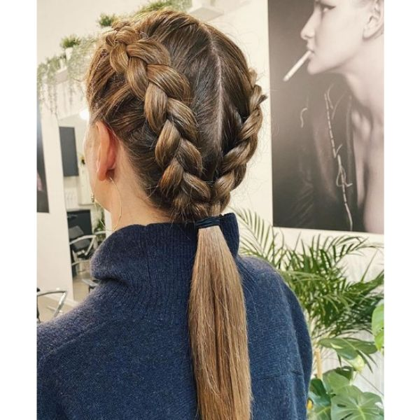 Double Braids With Low Ponytail Easy Hairstyles for School