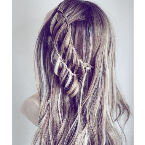 Double Waterfall Hairstyle with Falling Strands