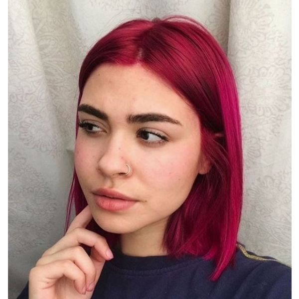 Fuchsia Colored Mid Length Hairstyle