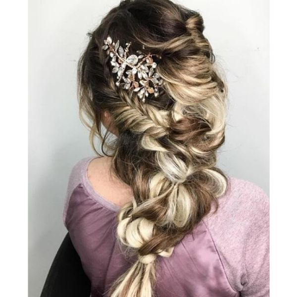 Full Mermaid Hairstyle with Accessory bridal hairstyles