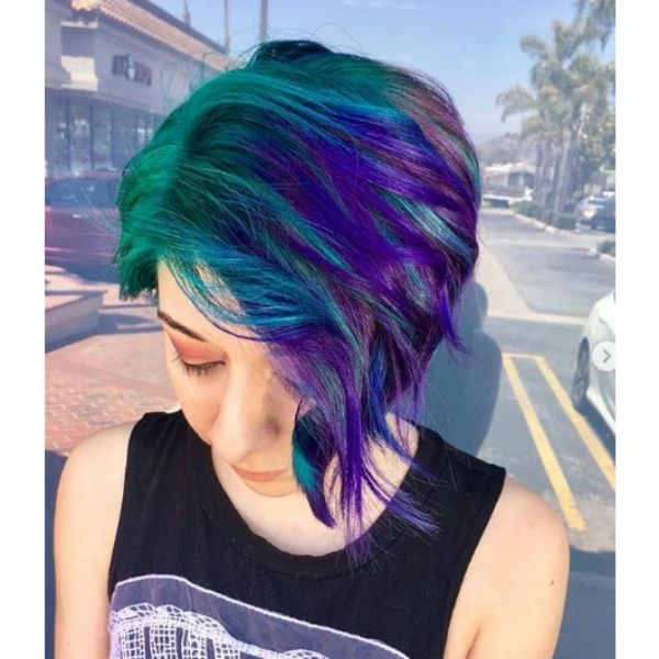 Green Violet Bob Hairstyle