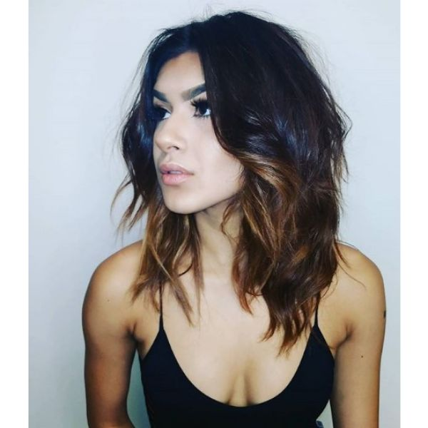 Half Dark Half Brown Mid Length Hairstyle with Soft Waves