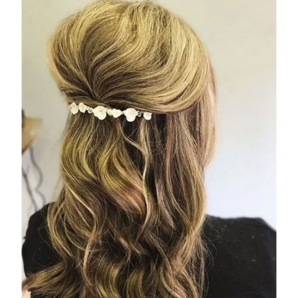 Half Up Half Down Hairstyle With Pearl Accessory Bridal Hairstyles
