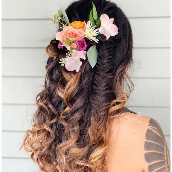 Half Up Half Down Hairstyle with Flowers Bridal Hairstyles