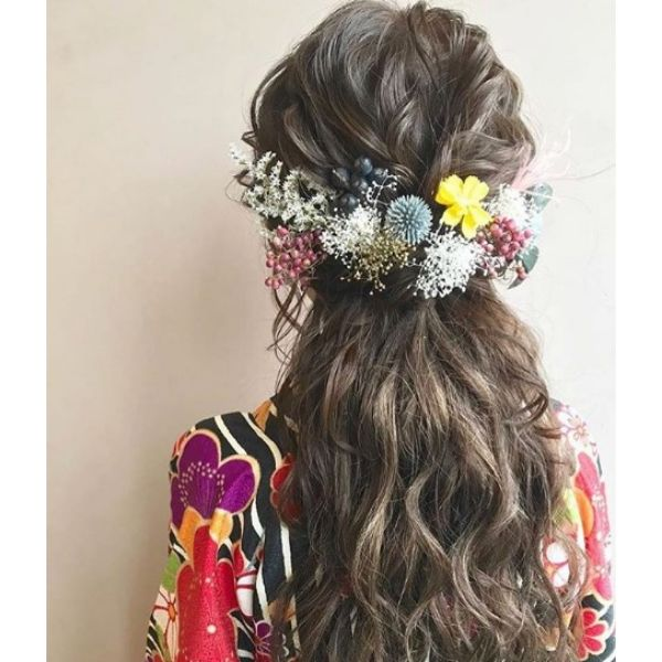 Half-Up do with Messy Floral Arrangement
