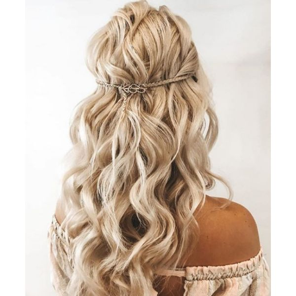 Half Up-do with Tiny Braids Bridal Updo Bridal Hairstyles