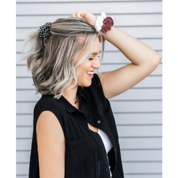 Half Updo with Scrunchie easy hairstyles for school