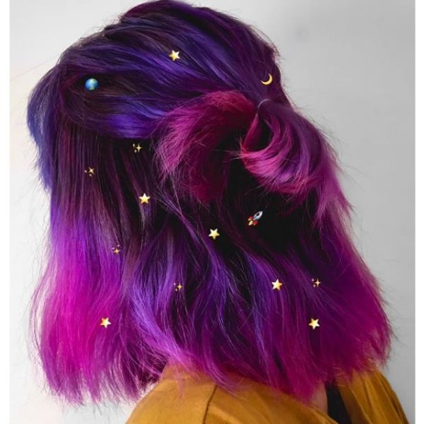 Half-knot with Purple Strands easy hairstyles for school