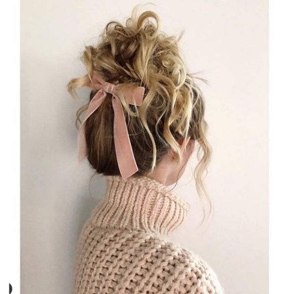 High Curly Hairstyle with Back Ribbon Hairstyle