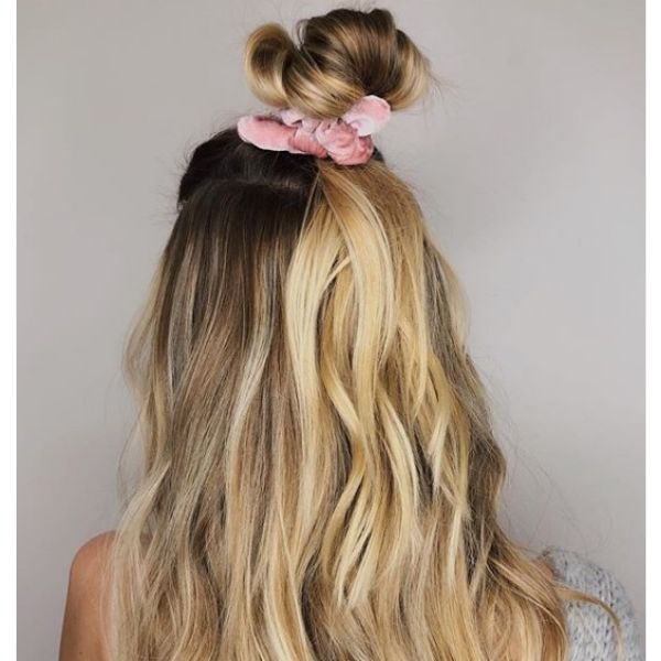 High Messy Bun with Scrunchie easy hairstyles for school