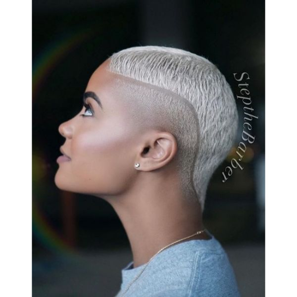 Ice Blonde Hairstyle with Side Razor Line