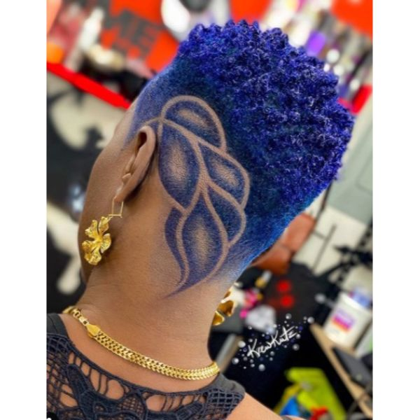 shaved hairstyles for black women Indigo Blue High Taper with Leaf Design