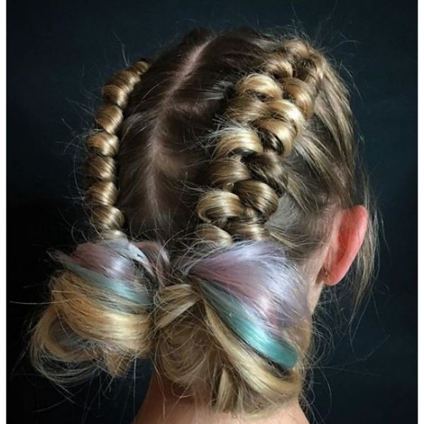 Infinity Buns with Violet Shades Hairstyle