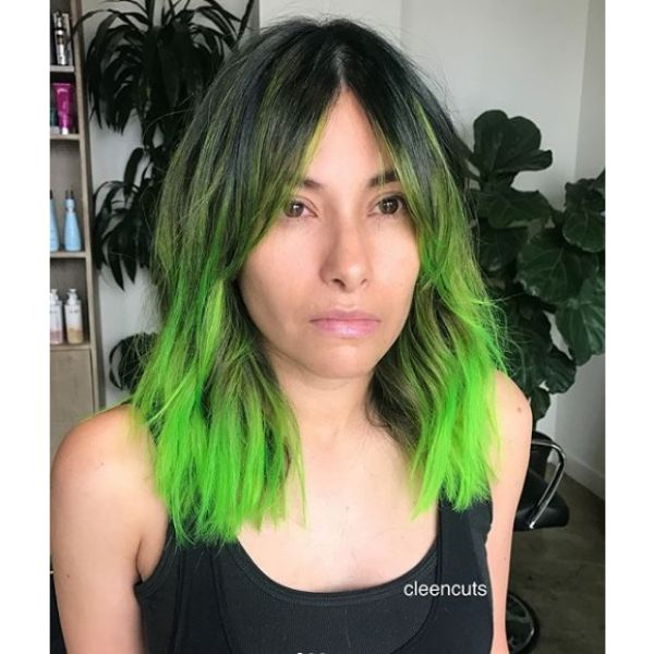Long Bob Hairstyle with Fresh Green Highlights