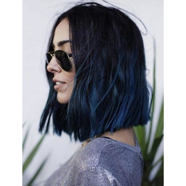Long Bob With Blue Strands