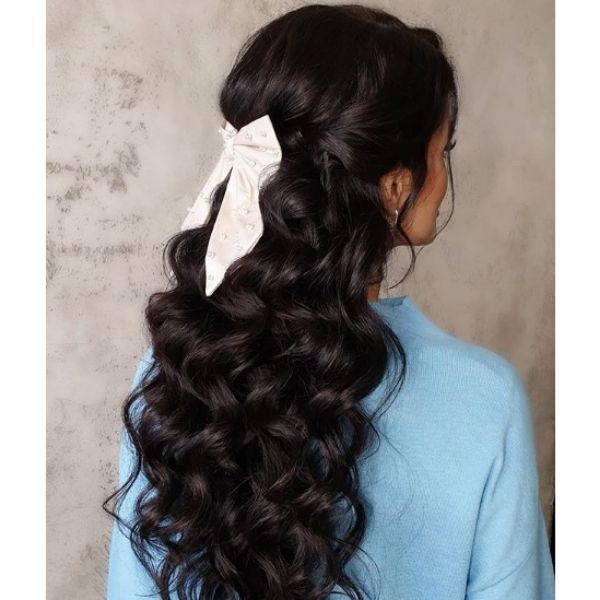 Long Curls with White Ribbon Hairstyle