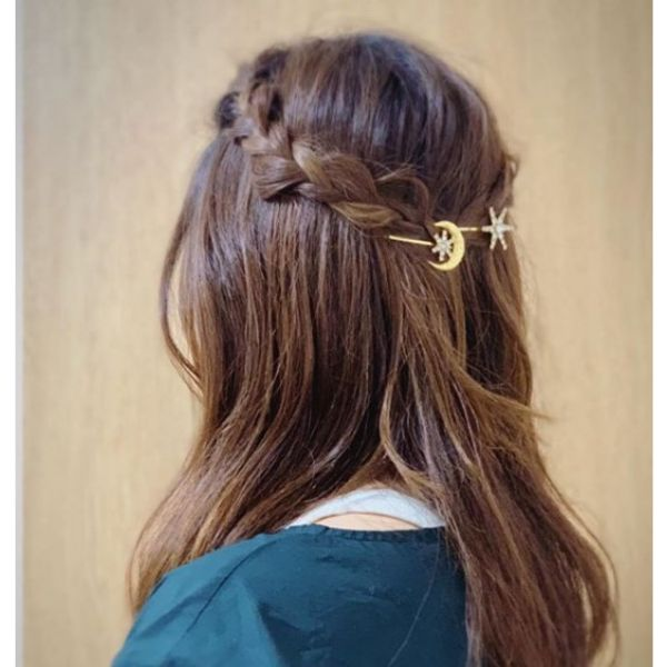 Long Hair With Waterfall Braids And Hair Accesories