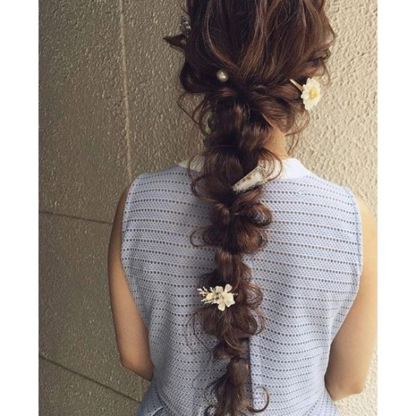 Long Hairstyle with Pulltrough Braids Bridal Hairstyles
