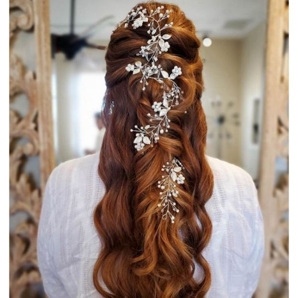 Long Intricate Hairstyle With Ponytail bridal hairstyles