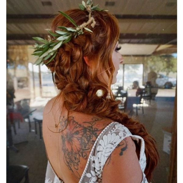 Long Red Hairstyle with Crown bridal hairstyles