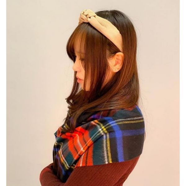 Long Straight Auburn Easy Hairstyle with Headband