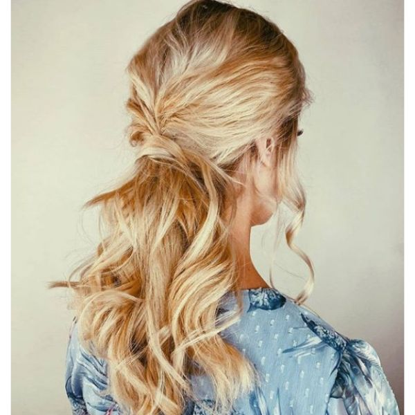 Low Ponytail With Blonde Messy Strands