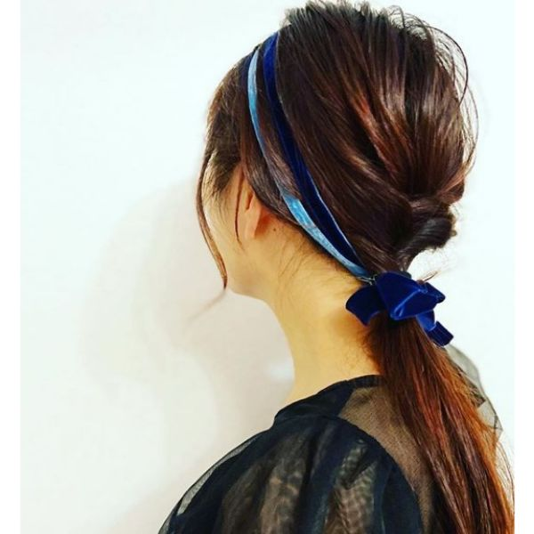 Low Ponytail with Twists and Velvet Headband