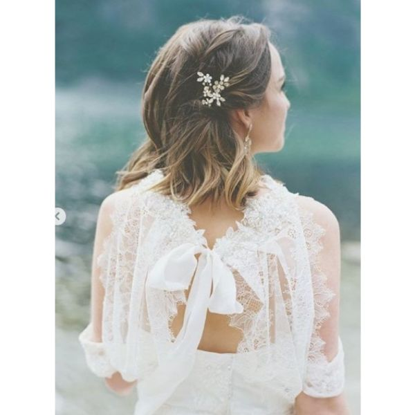 Medium Long Hairstyle with Side Twist Bridal Hairstyles