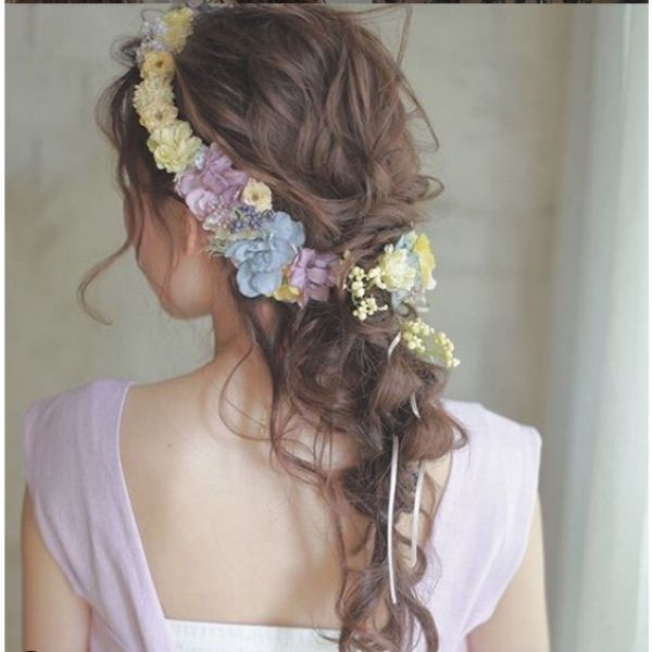 Messy Braid with Flower Crown Bridal Hairstyle