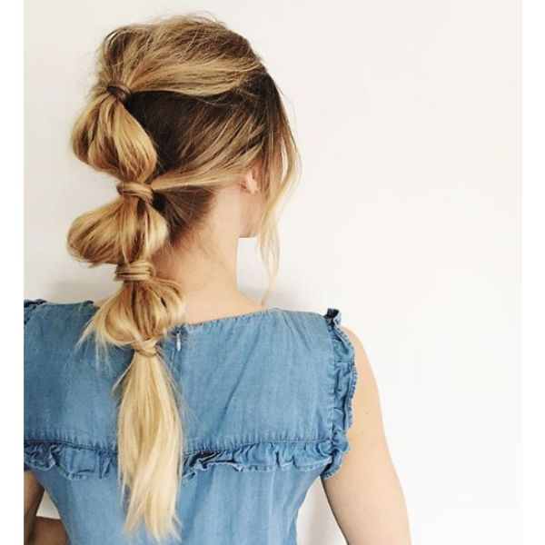 Messy Bubble Ponytail Hairstyle easy hairstyles for school