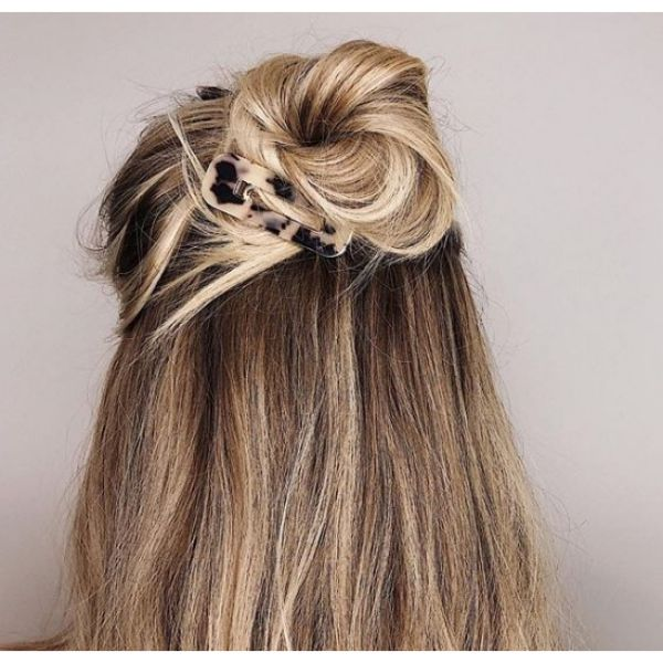 Messy Bun With A Clip Easy Hairstyle For School easy hairstyles for school