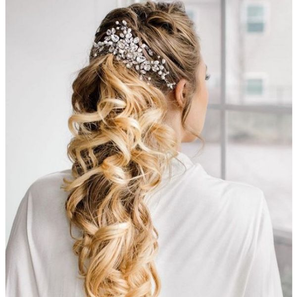 Messy Falling Hairstyle with Hair Piece bridal hairstyles