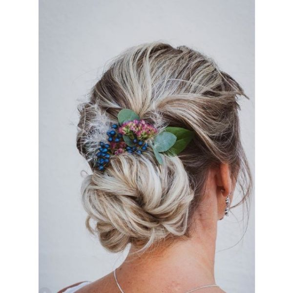 Messy Low Bun with Flower Band