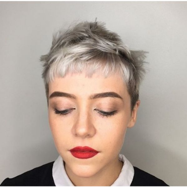 Messy Silver Pixie Cut with Straight Bangs Hairstyle