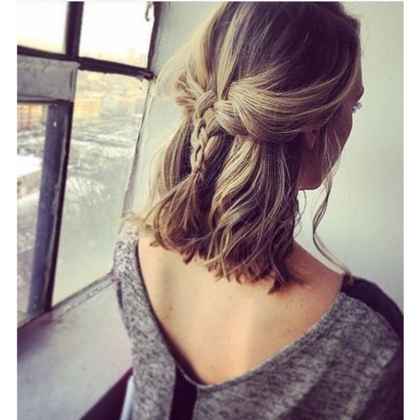 Mid Length Hairstyle with Back Plait