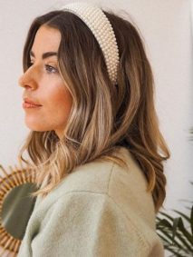 Mid Length Hairstyle with Pearl Headband