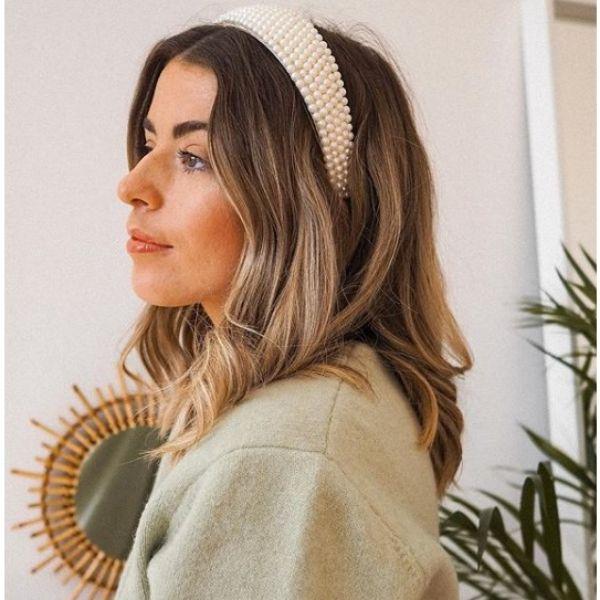 Medium Length Hairstyles with Pearl Headband