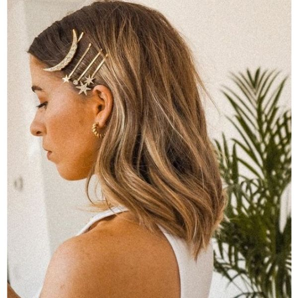 Mid Length Hairstyles with Hair Clips