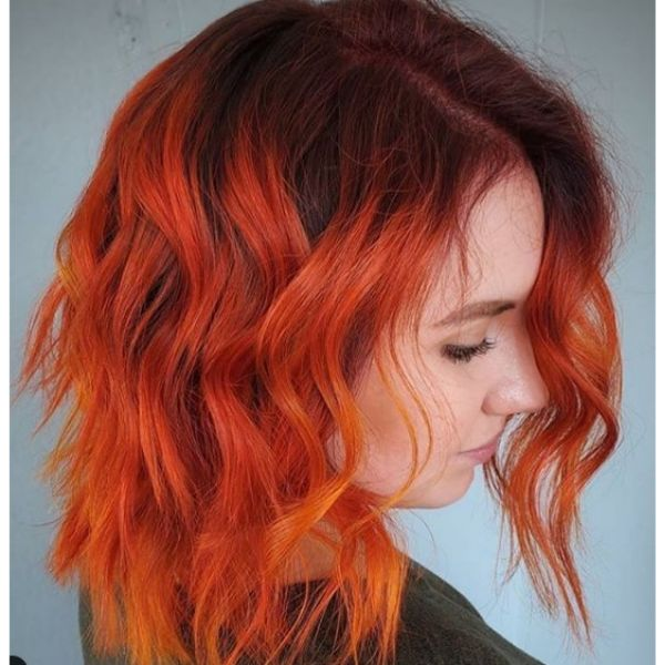 Mid Length Hairstyles with Red Flame